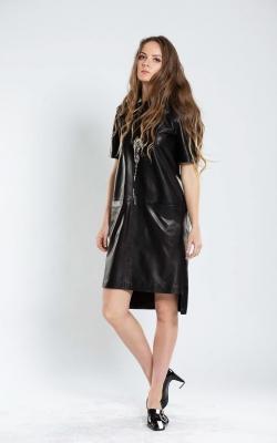 Stilinga natūralios odos suknelė moterims