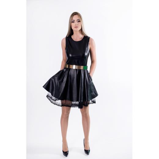 Odinė suknelė dekoruota nėriniais, MOD-DA18